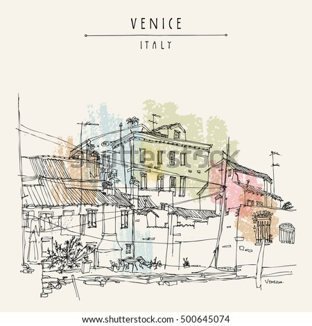 Canal bank in Venice, Italy, Europe. Historic buildings Vintage hand drawn travel sketch. Retro style touristic postcard, poster, calendar or book illustration in vector