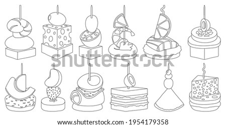 Canape and food outline vector set illustration of icon.Food and appetizer vector set of icon.Canape outline collection on white background. Photo stock ©