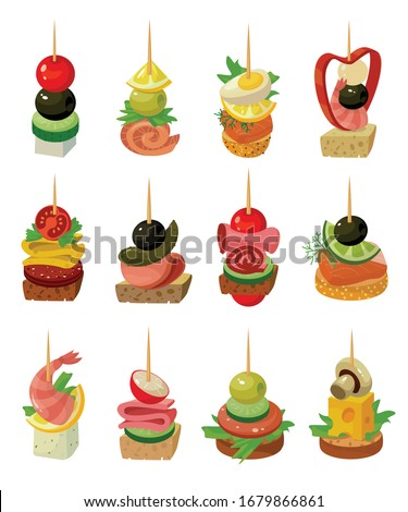 Canape of food vector illustration on white background. Isolated cartoon set icon appetizer. Vector cartoon set icon canape of food. Photo stock ©