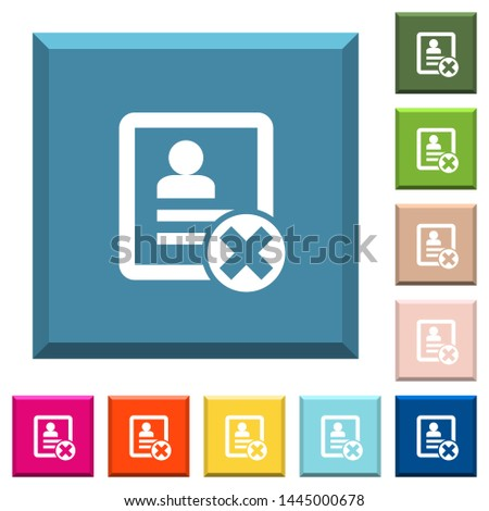 Cancel contact white icons on edged square buttons in various trendy colors