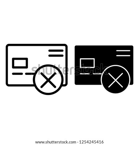 Cancel credit card line and glyph icon. Plastic card with cross vector illustration isolated on white. Wrong transfer outline style design, designed for web and app. Eps 10