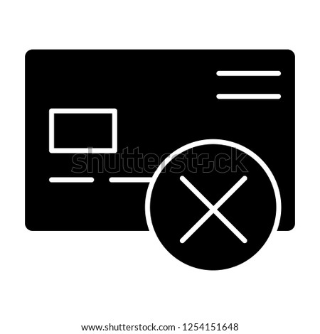 Cancel credit card solid icon. Plastic card with cross vector illustration isolated on white. Wrong transfer glyph style design, designed for web and app. Eps 10