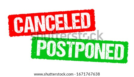 Canceled and postponed stamp vector Stockfoto ©
