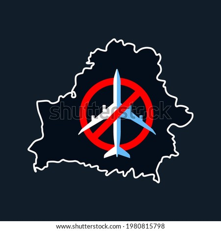 Cancellation of flights with Belarus due to international scandal with plane. Changes in course of aircraft flights due to act of terrorism by Lukashenko. Banner for article in magazines, newspapers