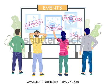 Cancelled events due to corona virus pandemic, vector flat illustration. Cancellation of mass gatherings sports events, films or musical shows. Corona virus respiratory disease COVID-19 prevention. Foto stock ©