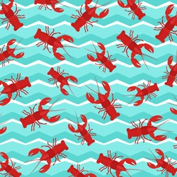 Cancer animal pattern. Lobster pattern for fabric design. Lobster background. crayfish pattern. Sea animals background