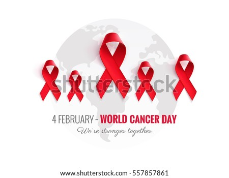 2241e9482e6 Cancer Awareness Red Ribbon Background. 4 February world cancer day  horizontal poster. We are