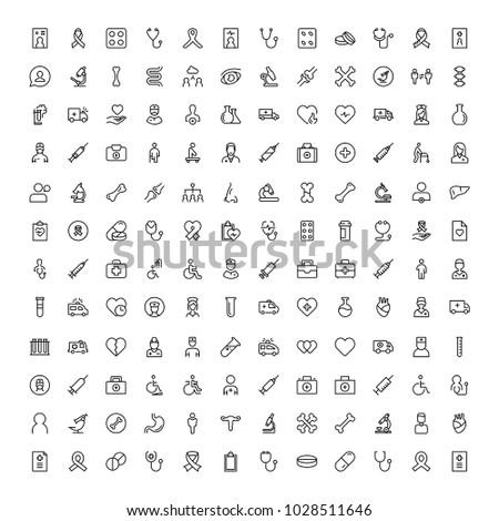 Cancer icon set. Collection of vector symbols on white background for web design. Black outline sings for mobile application.