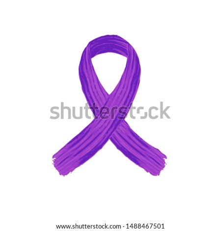 Cancer ribbon  Awareness isolated vector icon.Purple cancer  Awareness ribbon pankreatic .Violet cancer  Awareness ribbon pankreas.