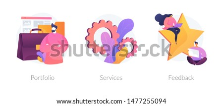 Candidate CV, job searching Internet service web icons set. Customer review. Employee resume. Portfolio, services, feedback metaphors. Vector isolated concept metaphor illustrations