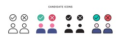candidate icon vector with four different style design. isolated on white background