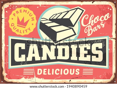 Candies and chocolate bars retro sign design on pink background. Candy store vintage promotional poster. Vector ad for desserts and sweets.