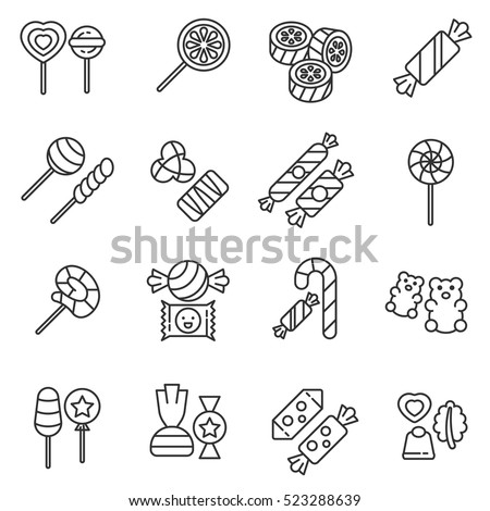 Candies icons set. Various sweets, thin line design. Sugar and chocolate products, linear symbols collection. Production of sweets, isolated vector illustration.