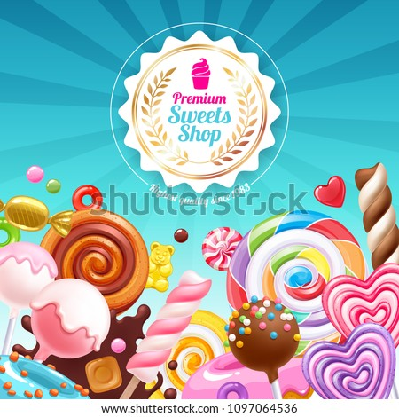Candies poster. Sweet shop. Colorful background with sweets - lollipops, cake pops, spiral candy, chocolate bar and donuts on shine background.