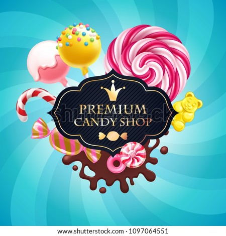Candies poster. Sweet shop. Colorful background with sweets - lollipops, candy cane, cake pops, chocolate splash, peppermint caramel and jelly bear on shine background.