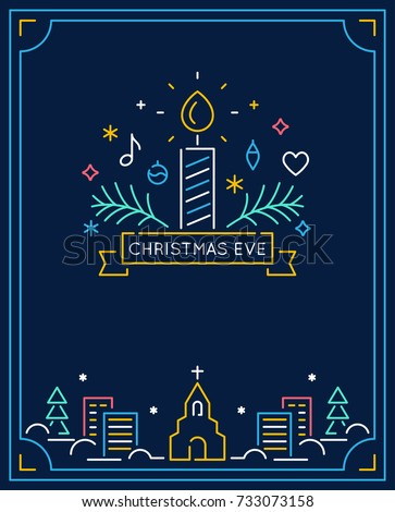 Candle and Ornaments, Winter Town and Church Outline. Christmas Eve Candlelight Service Invitation. Line Art Vector Design