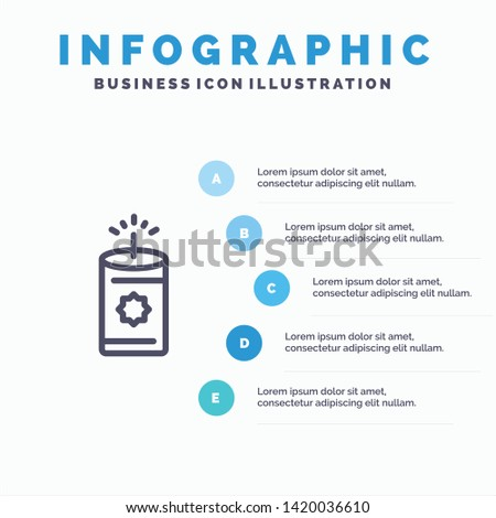 Candle, China, Chinese Blue Infographics Template 5 Steps. Vector Line Icon template