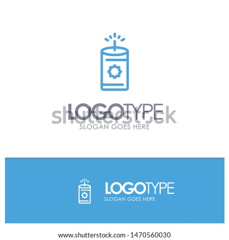 Candle, China, Chinese Blue Logo Line Style. Vector Icon Template background