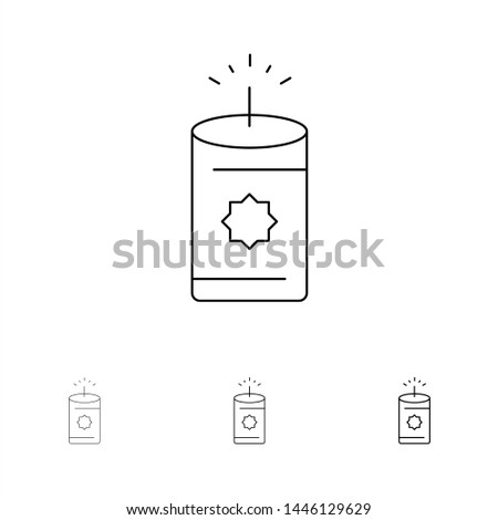 Candle, China, Chinese Bold and thin black line icon set