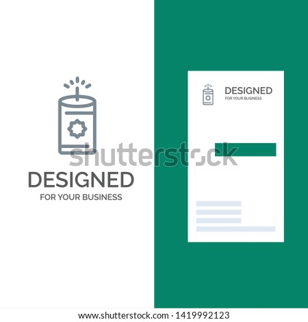 Candle, China, Chinese Grey Logo Design and Business Card Template