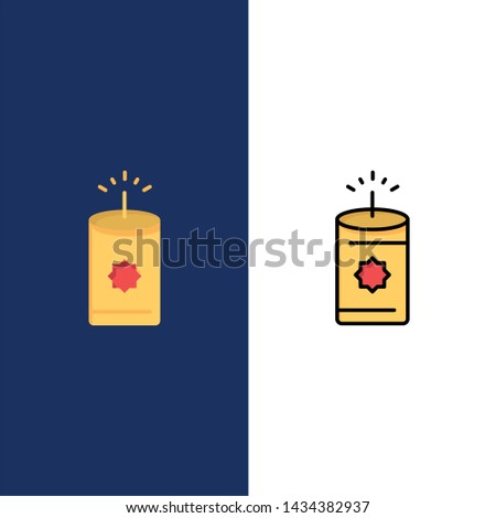 Candle, China, Chinese  Icons. Flat and Line Filled Icon Set Vector Blue Background