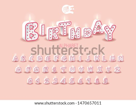 Candle 3D Sweet Duo Color Letters On A Pink Background. Set For Candy Bar. Font For Happy Birthday Celebration. Realistic Collection for Children's Party. Baby Shower. Muffin With Candle. Alphabet ABC