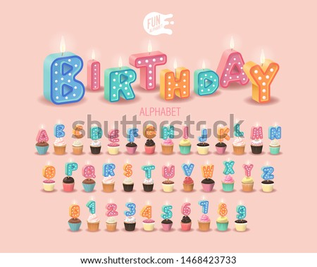 Candle 3D Sweet Letters On A Pink Background. Set For Candy Bar. Font For Happy Birthday Celebration. Realistic Collection for Children's Party. Baby Shower. Muffin With Candle. 3D Sweet Alphabet