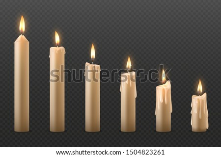 Candle flame. Burning realistic 3D wax candle, different Christmas birthday church and party glowing candles. Vector set isolated romantic objects candlelight
