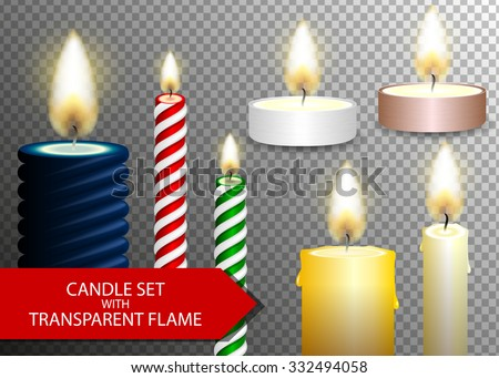 candle flame set on transparent