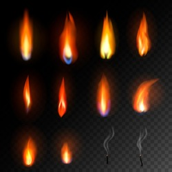 Candle flame vector fired flaming candlelight and flammable fire light illustration fiery flamy set bright burn decoration for celebration isolated on black transparent background