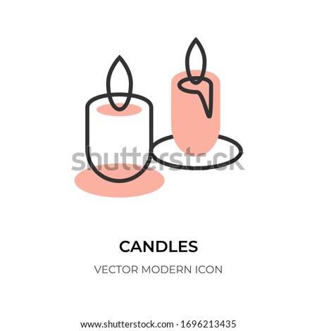 candle flat line icon logo