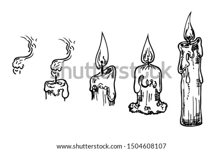 Candle hand drawn set. Vector burning candles sketch on white. Candle flame, burning candle, burnt candle.