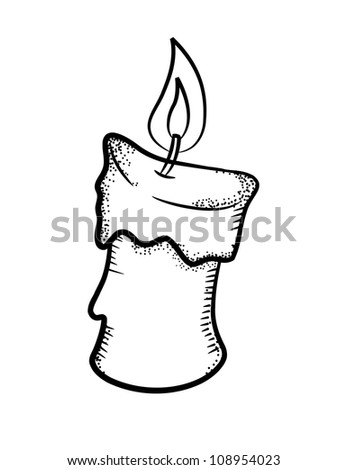 Candle in doodle style