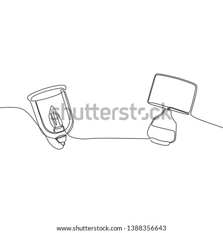 candle lamp and bed lamp continuous and one line lamps Vector illustration