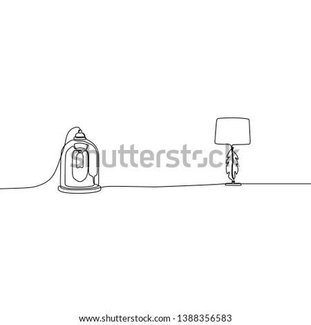 candle lamp and traditional lamp one line table lamps with lampshades. Vector illustration. Set of isolated black contoured objects on white background