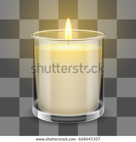 Candle light in a straight glass jar. Vector realistic illustration isolated on transparent background.