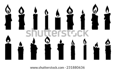 candle silhouettes on the white