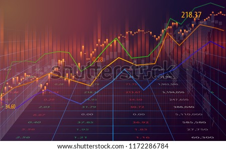 Candle stick of stock market or forex trading in perspective graphic design for financial investment concept, vector illustration