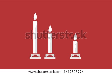 Candle vector in red background. This candle vector has three candles. This candle consists of a candle stick, candles flame and candles holder.