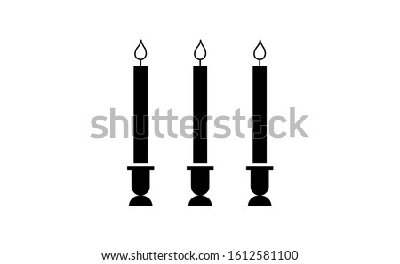 Candle vector in white background. This candle vector has three candles. This candle consists of a candle stick, candles flame and candles holder.