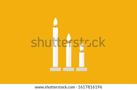 Candle vector in yellow background. This candle vector has three candles. This candle consists of a candle stick, candles flame and candles holder.