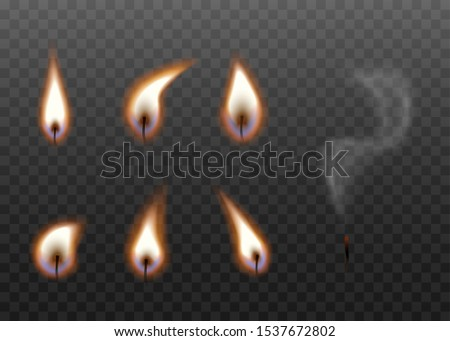 Candle wick burning stages set isolated on dark background - realistic black wicks with bright flame with and without fire. Stages of blowing out candles - vector illustration. Foto stock ©