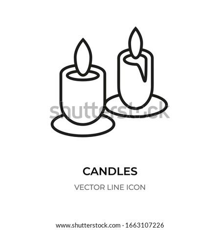 candleblack line icon logo