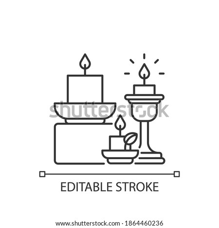 Candles and candle holders linear icon. Soft and cozy style. Lanterns, sconces, candlesticks. Thin line customizable illustration. Contour symbol. Vector isolated outline drawing. Editable stroke Photo stock ©