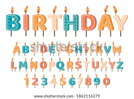 Candles birthday alphabet. Birthday candles ABC letters and numbers, cute alphabet for birthday cake. Birthday candles font vector symbols set. Decoration for cake on holiday celebration