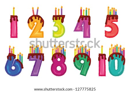 Candles, colorful numeral candles, isolated on white background ストックフォト ©