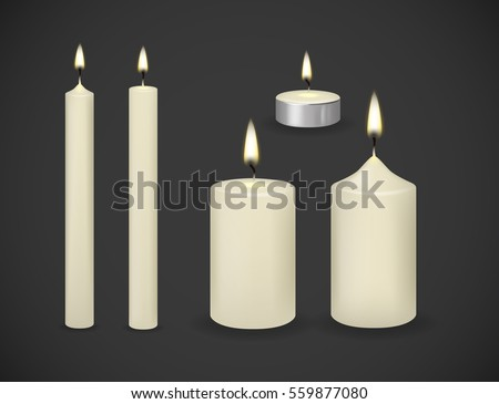 candles flame realistic set