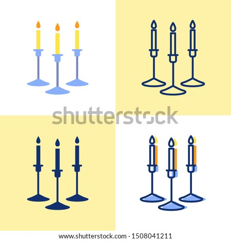Candles in holder icon set in flat and line style. Chandeliers with burning candle sticks symbol. Home interior decor. Vector illustration.