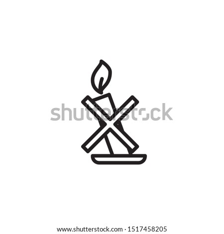Candles line icon. Labeled for fire safety. Labeling for wax candles. Sings for desing, for a website, for label printing.