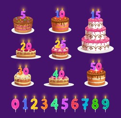 Candles on birthday cake with number age, vector celebration party icons. Happy birthday cupcake and striped candles with fire light red, blue, orange yellow and green, anniversary candlelight